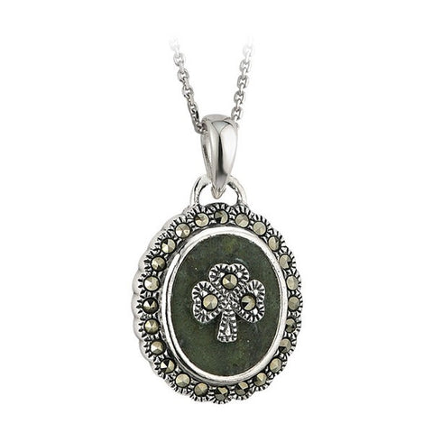 Marcasite Shamrock Pendant Necklace