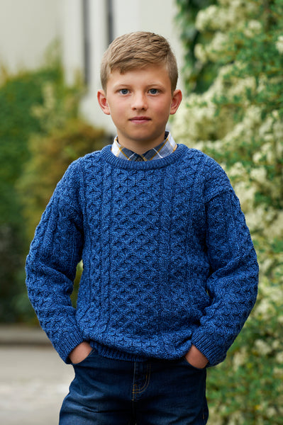 TRADITIONAL ARAN MERINO WOOL CREW NECK SWEATER