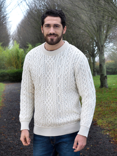SUPER SOFT MERINO CREW NECK IRISH ARAN