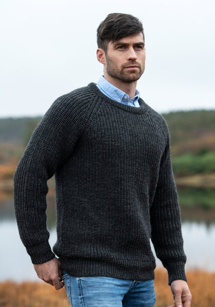 IRISH FISHERMANS RIB CREW NECK SWEATER