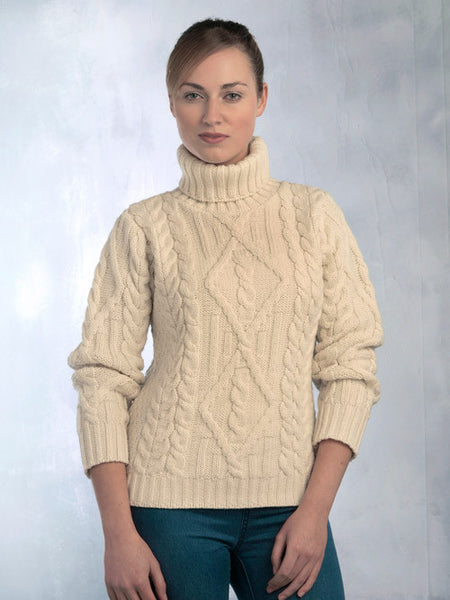 Traditional Turtle Neck Sweater, Irish Celtic Craft Shop