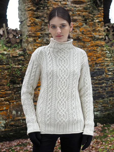 SUPER SOFT ARAN FUNNEL NECK SWEATER