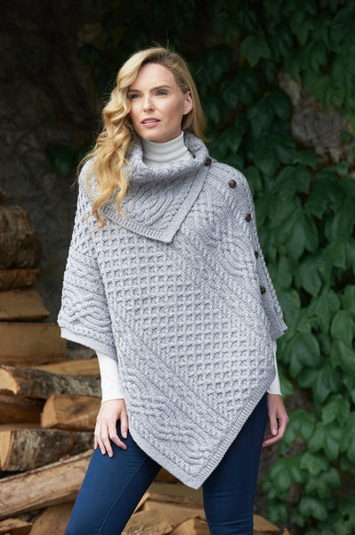 LADIES MERINO ARAN COWL NECK CAPE WITH SIDE BUTTONS