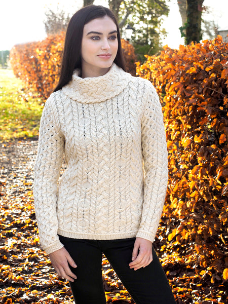 SUPER SOFT CABLE KNIT COWL NECK SWEATER
