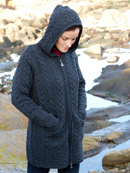 HOODED ARAN COATIGAN WITH CELTIC KNOT ZIP