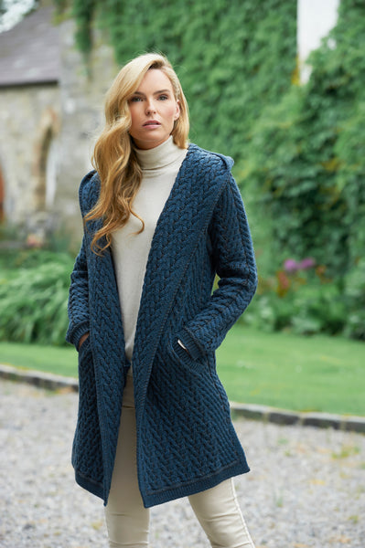 HERRINGBONE ARAN SHAWL COAT WITH HOOD