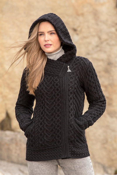 KILKENNY CABLE KNIT HOODIE WITH SIDE ZIP