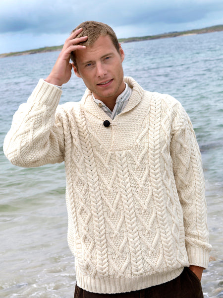 ARAN ONE BUTTON SHAWL COLLAR SWEATER
