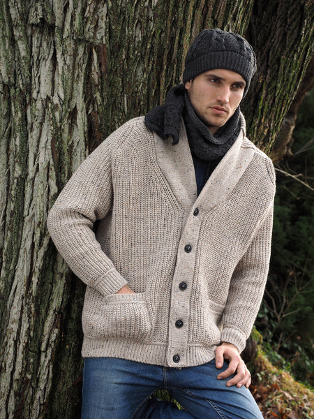 SLANE RIBBED STITCH SHAWL NECK CARDIGAN