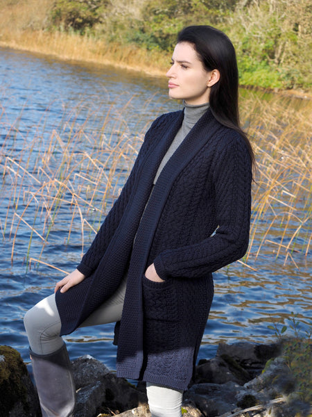 ARAN SHAWL CARDIGAN WITH EDGE TO EDGE DRAPE FRONT