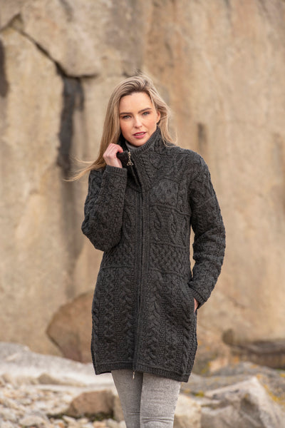 LADIES DOUBLE COLLAR MERINO ARAN COAT