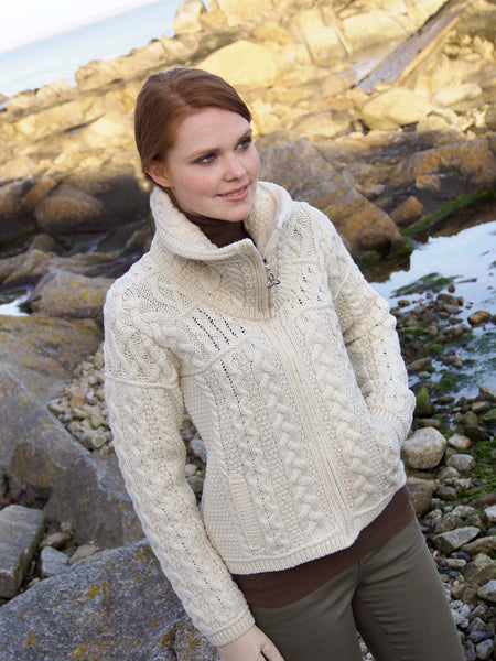 DOUBLE COLLAR MERINO ARAN CARDIGAN