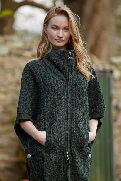 ARAN BATWING JACKET WITH FUNNEL NECK