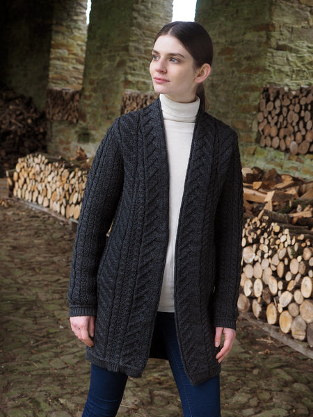 SUPER SOFT MERINO OPEN ARAN CABLE KNIT COAT