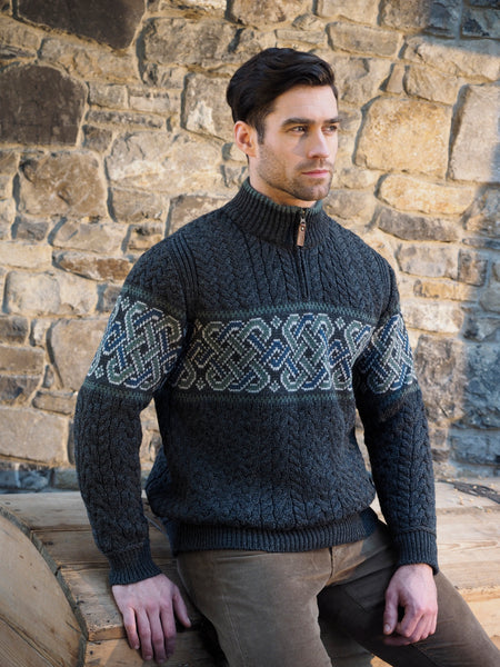 ARAN JACQUARD SWEATER WITH HALF ZIP