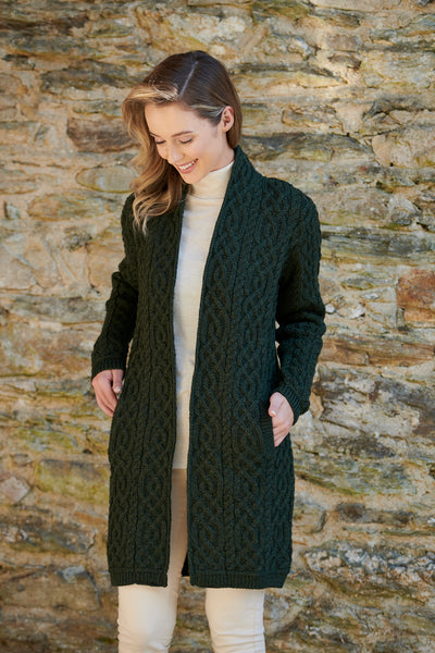 LADIES CELTIC BRAID ARAN CABLE KNIT COAT