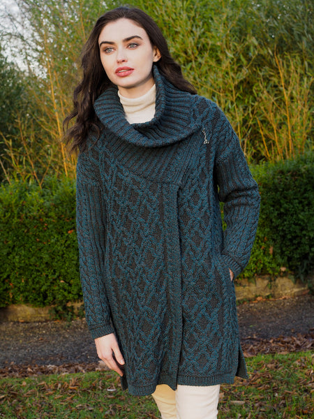TWO TONE ARAN OVERSIZED LADIES COAT