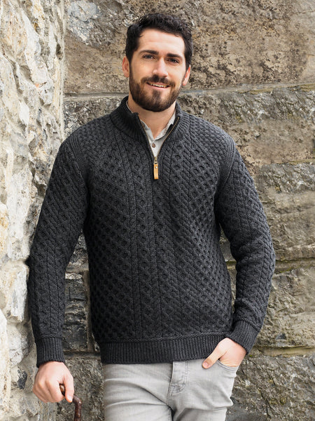 SUPER SOFT HALF ZIP DESIGN ARAN SWEATER