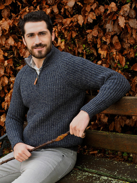 FISHERMAN STYLE HALF ZIP SWEATER WITH RIBBED STITCH