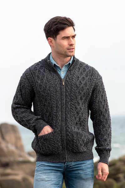 DIAMOND AND CABLE KNIT ARAN CARDIGAN WITH ZIP