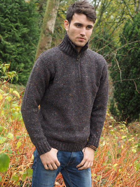 DONEGAL TWEED SWEATER WITH HALF ZIP