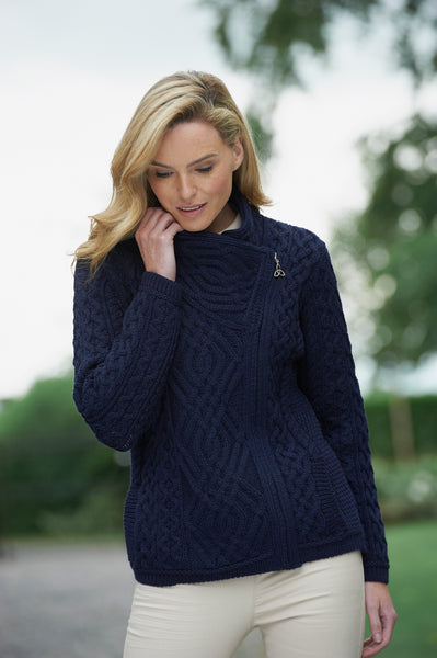 ARAN CABLE STITCH CARDIGAN WITH SIDE ZIP