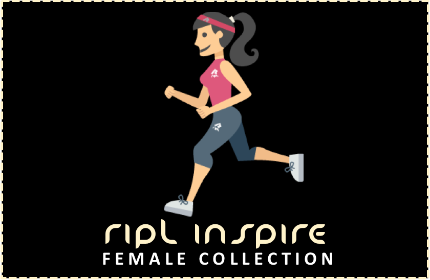 Female cartoon running representing the Female Ripl Inspire Running Wear range