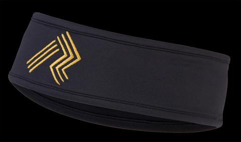 Ripl Effect Running Headband - Black And Gold With Embroidered Gold Logo And Fast Wicking Material