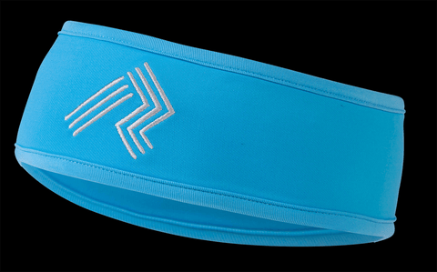 Ripl Effect Running Headband Blue And Silver - Silver Embroidered Logo And Fast Wicking Material