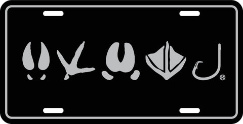 PRE ORDER: Tracks Logo License Plate | Gloss Black/ Silver - Outdoor Militia®