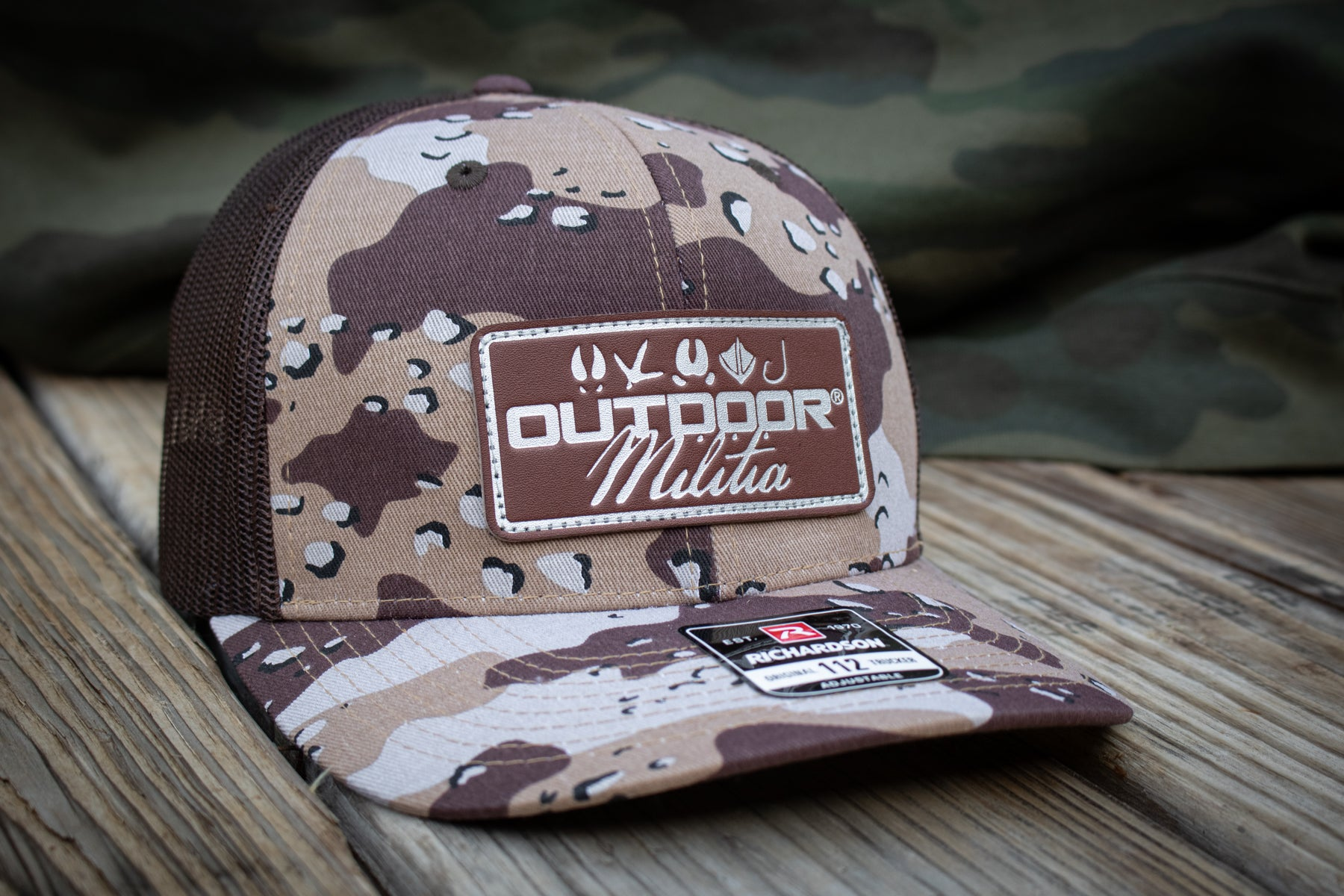 OM Leather Patch | Desert Storm Camo - Outdoor Militia®