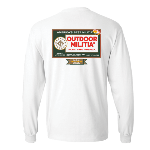 Outdoor Militia - T-Shirt - Long Sleeve - Old School Pouch - White - Hunt - Fish - America