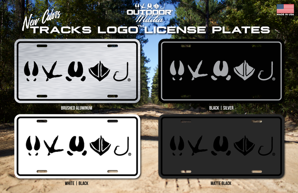 Tracks Logo License Plate | Matte Black - Outdoor Militia®