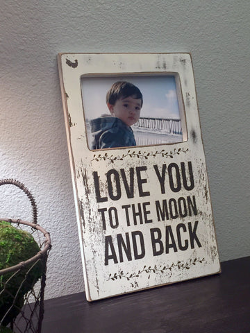 Love You To The Moon Picture Frame 8x13 Quote Signs Wall Art
