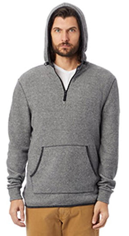 Alternative Adult Quarter Zip Fleece Hooded Sweatshirt