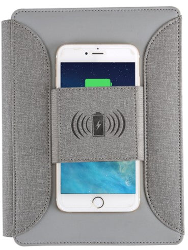 Wireless Phone Charging Travel Portfolio Organizer with Magnetic Closure