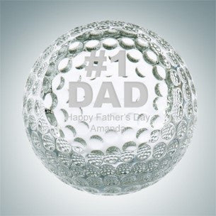 Etched Glass Golf Ball Paperweight