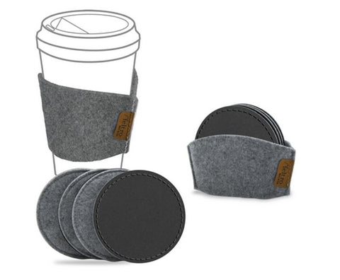 Feltro Collection Gray Felt Coaster Set