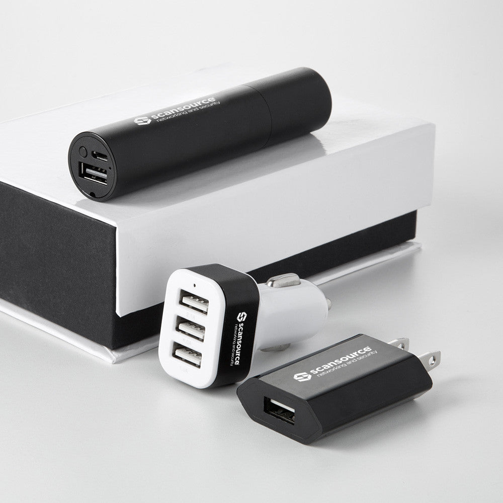 Powerbank, Car Charger, and Wall Charger Gift Set