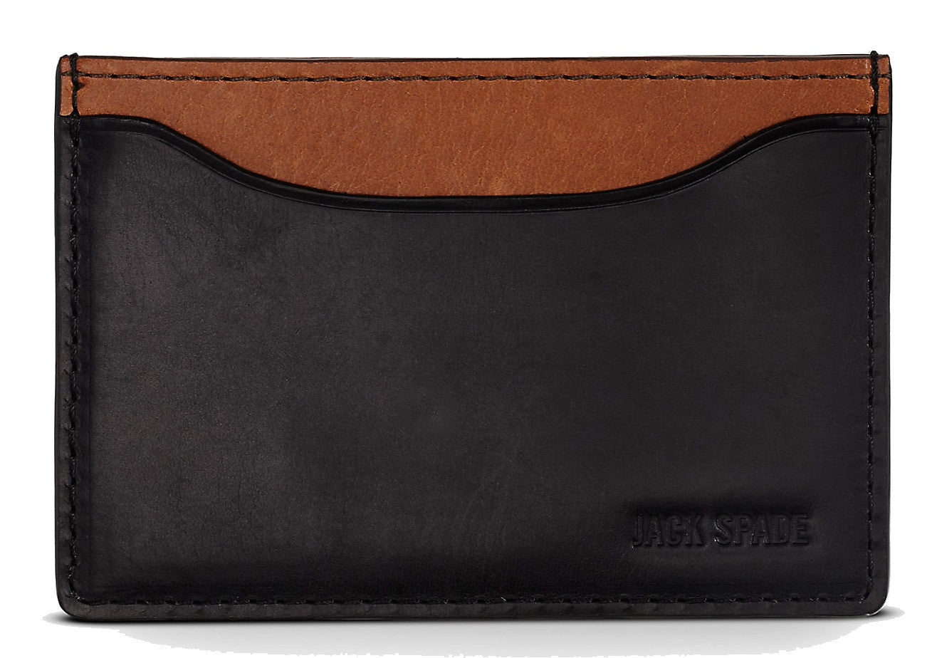 Jack Spade Mitchell Leather Credit Card Holder – Black/Saddle