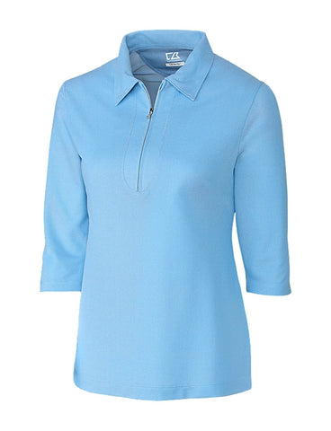 Cutter & Ladies' Blaine Oxford  ¾ Sleeve Zip Polo