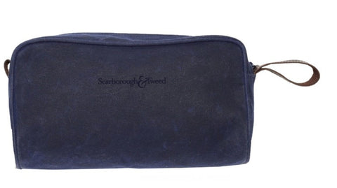 Navy Waxed Canvas Dopp Kit
