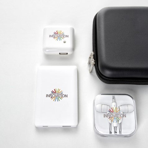 Power Bank, Wall Charger, and Earphone Gift Set