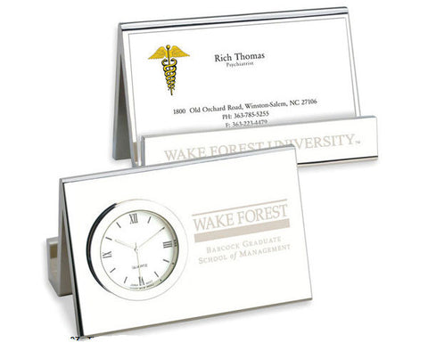 Time Card Desk Clock & Business Card Holder