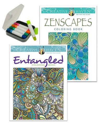 Creative Haven Coloring Books: Zenscapes or Entangled
