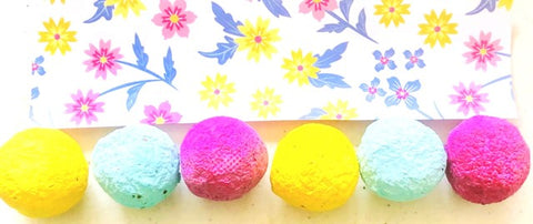 Wildflower Seed Bombs with Flowers Background