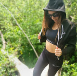 Signature Cropped Hoodie - White on Black
