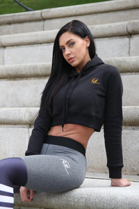 Signature Cropped Hoodie - Gold on Black