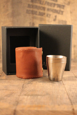 whisky hip flask 4 cup set spanish leather