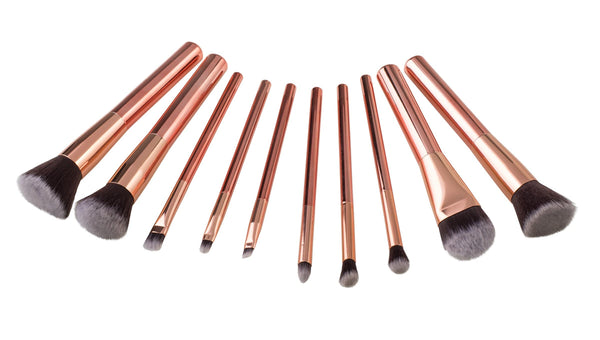 10-Piece Luxurious Makeup Brush Set in Rose Gold